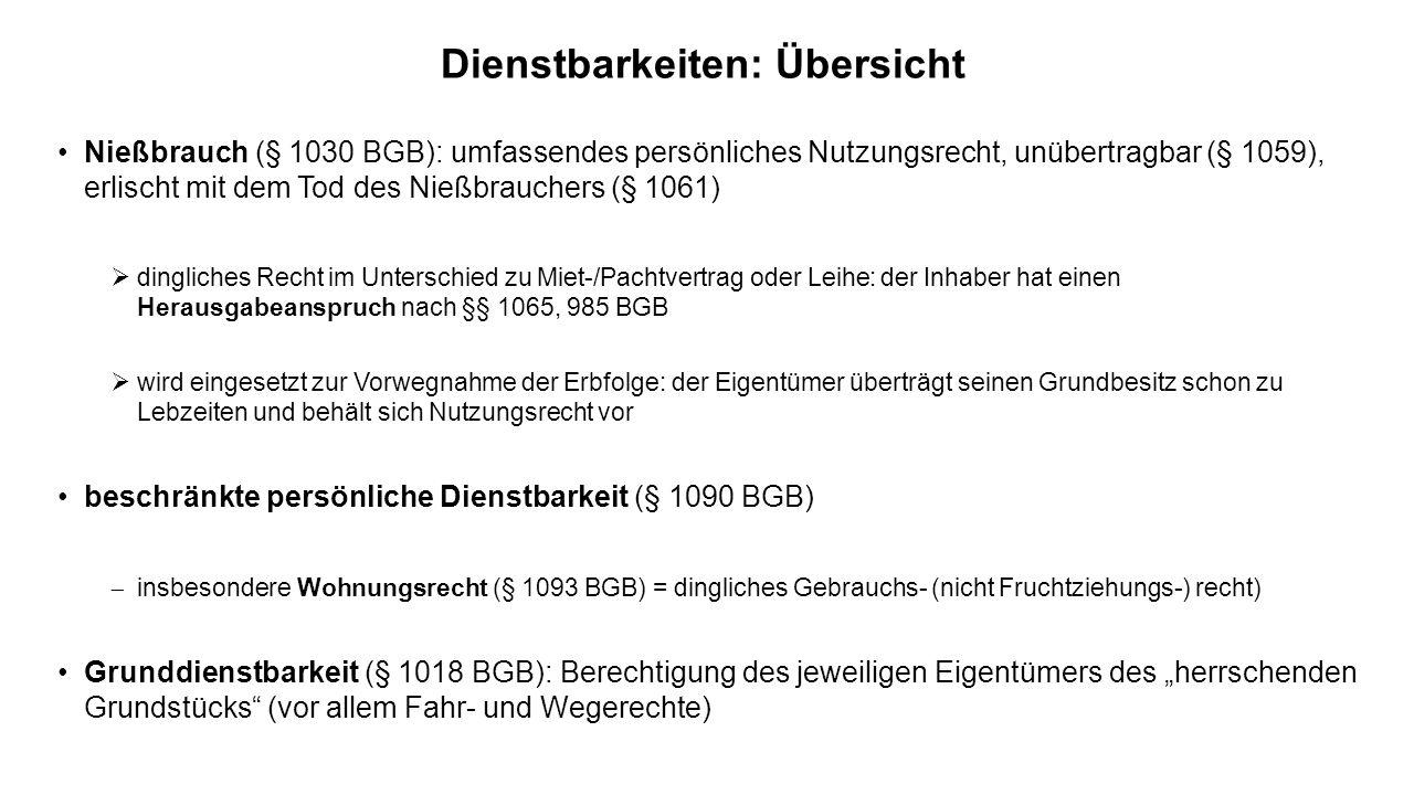 Dienstbarkeiten: Übersicht Nießbrauch (§ 1030 BGB): umfassendes persönliches Nutzungsrecht, unübertragbar (§ 1059), erlischt mit dem Tod des Nießbrauc