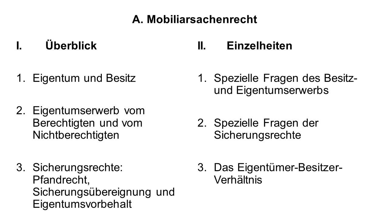 A.Mobiliarsachenrecht I.