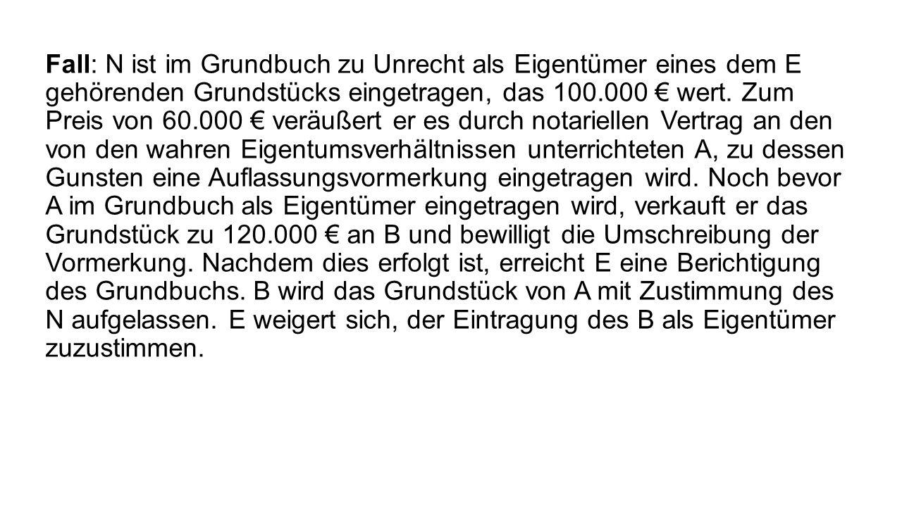 Fall: N ist im Grundbuch zu Unrecht als Eigentümer eines dem E gehörenden Grundstücks eingetragen, das 100.000 wert. Zum Preis von 60.000 veräußert er