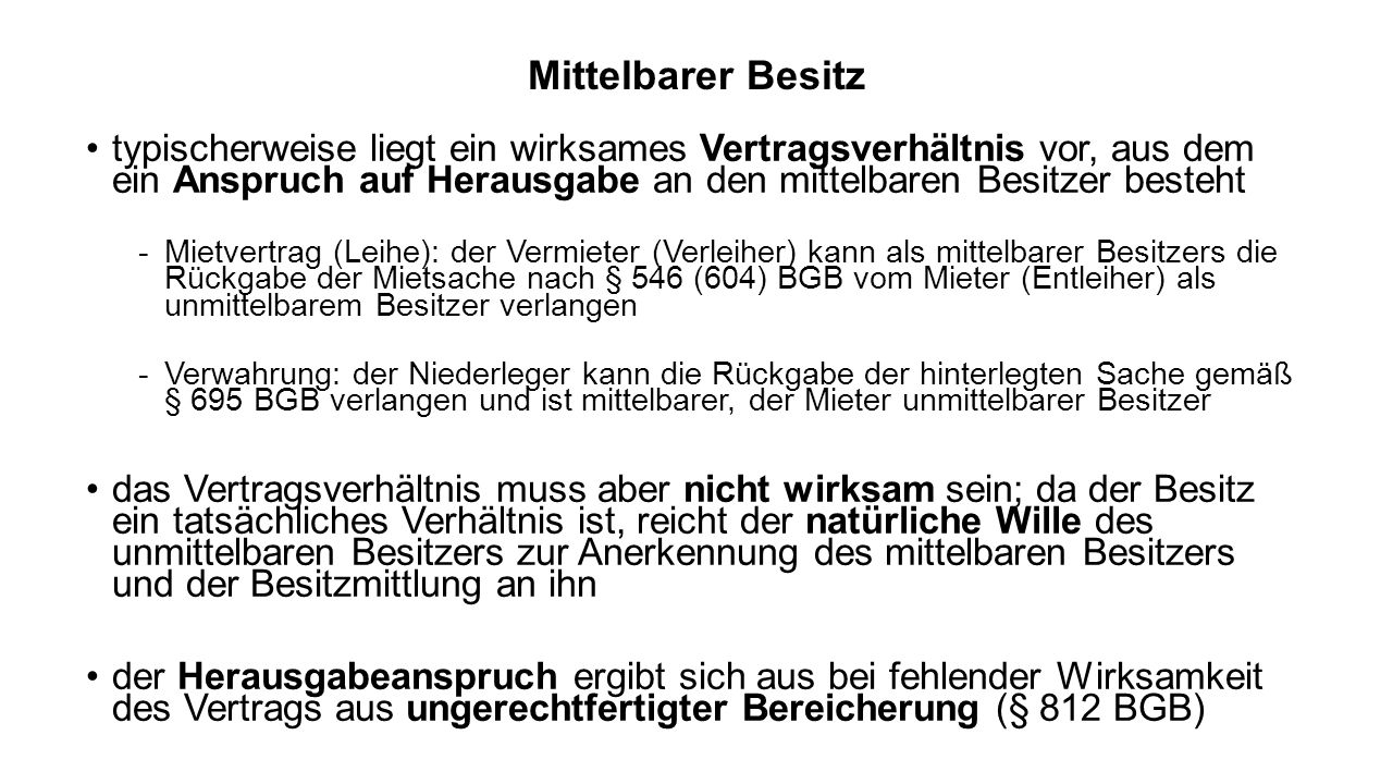 Eigentümer-Besitzer-Verhältnis (EBV) §§ 987 ff.