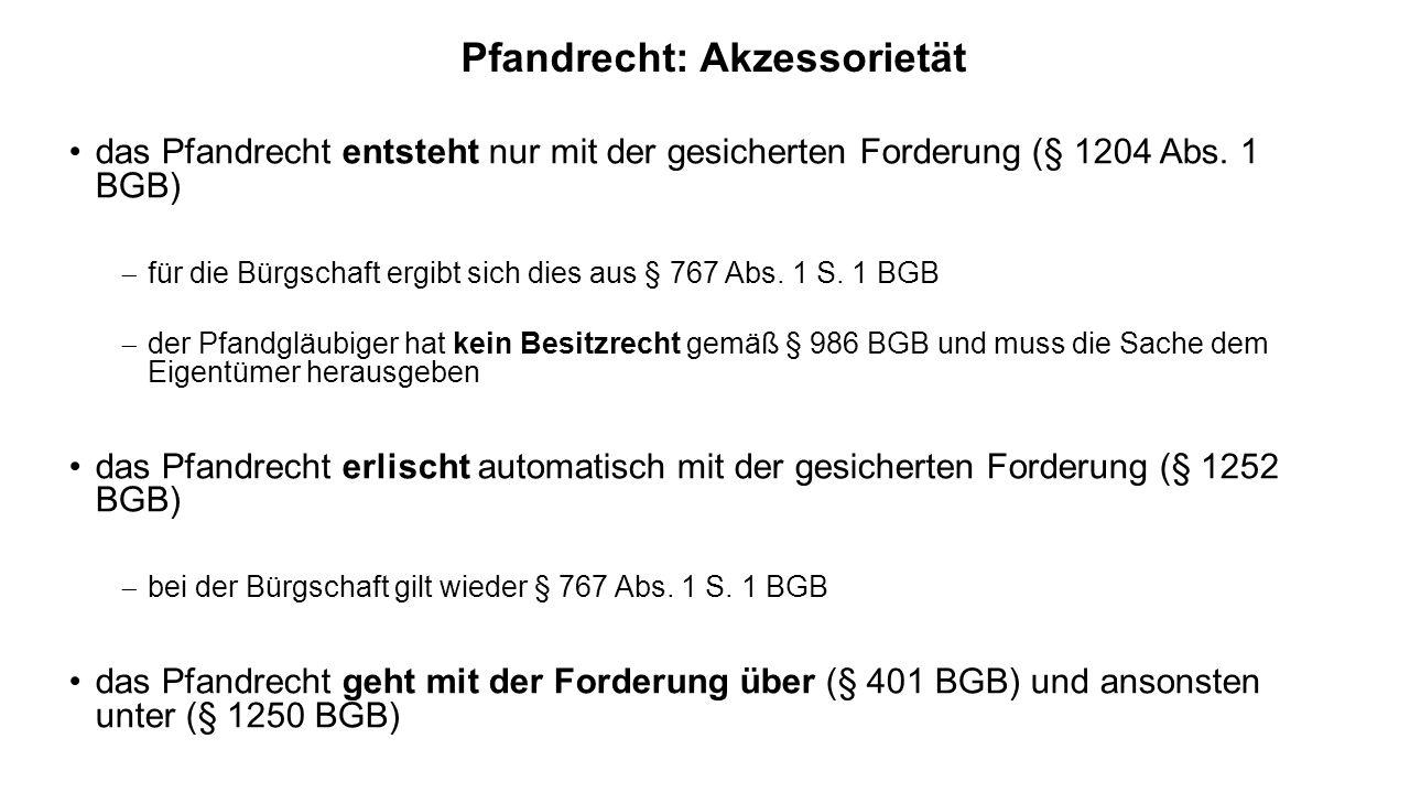 Pfandrecht: Akzessorietät das Pfandrecht entsteht nur mit der gesicherten Forderung (§ 1204 Abs. 1 BGB) für die Bürgschaft ergibt sich dies aus § 767