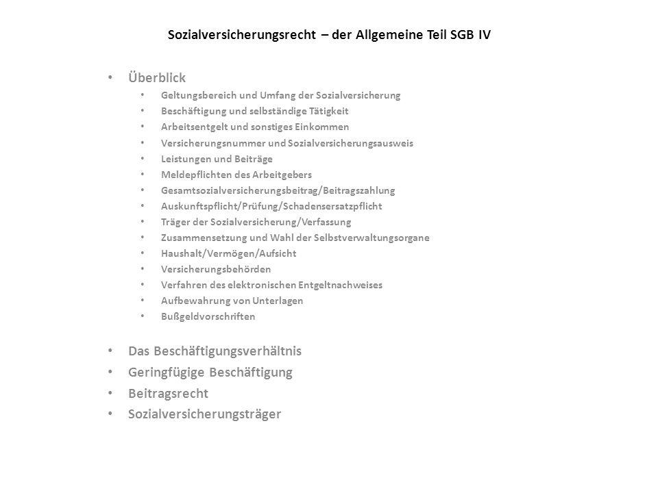 Sozialversicherungsrecht – der Allgemeine Teil SGB IV Überblick Geltungsbereich und Umfang der Sozialversicherung Beschäftigung und selbständige Tätig