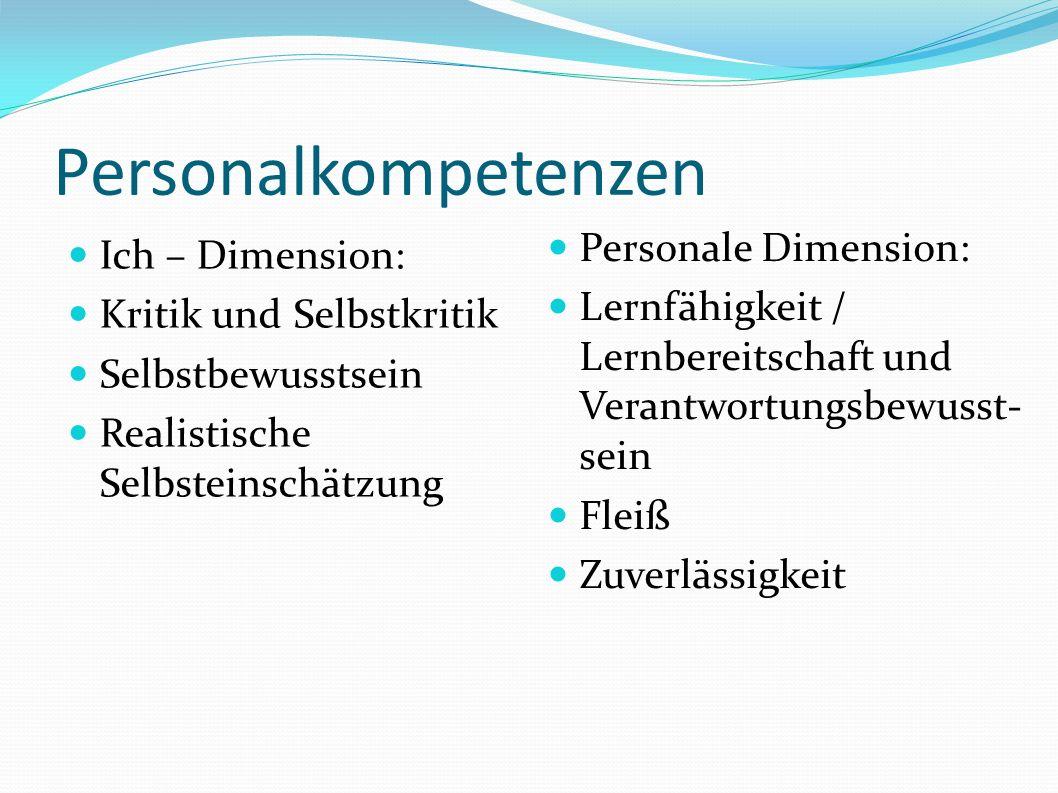 Personalkompetenzen Ich – Dimension: Kritik und Selbstkritik Selbstbewusstsein Realistische Selbsteinschätzung Personale Dimension: Lernfähigkeit / Lernbereitschaft und Verantwortungsbewusst- sein Fleiß Zuverlässigkeit