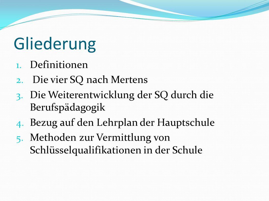 Gliederung 1.Definitionen 2. Die vier SQ nach Mertens 3.
