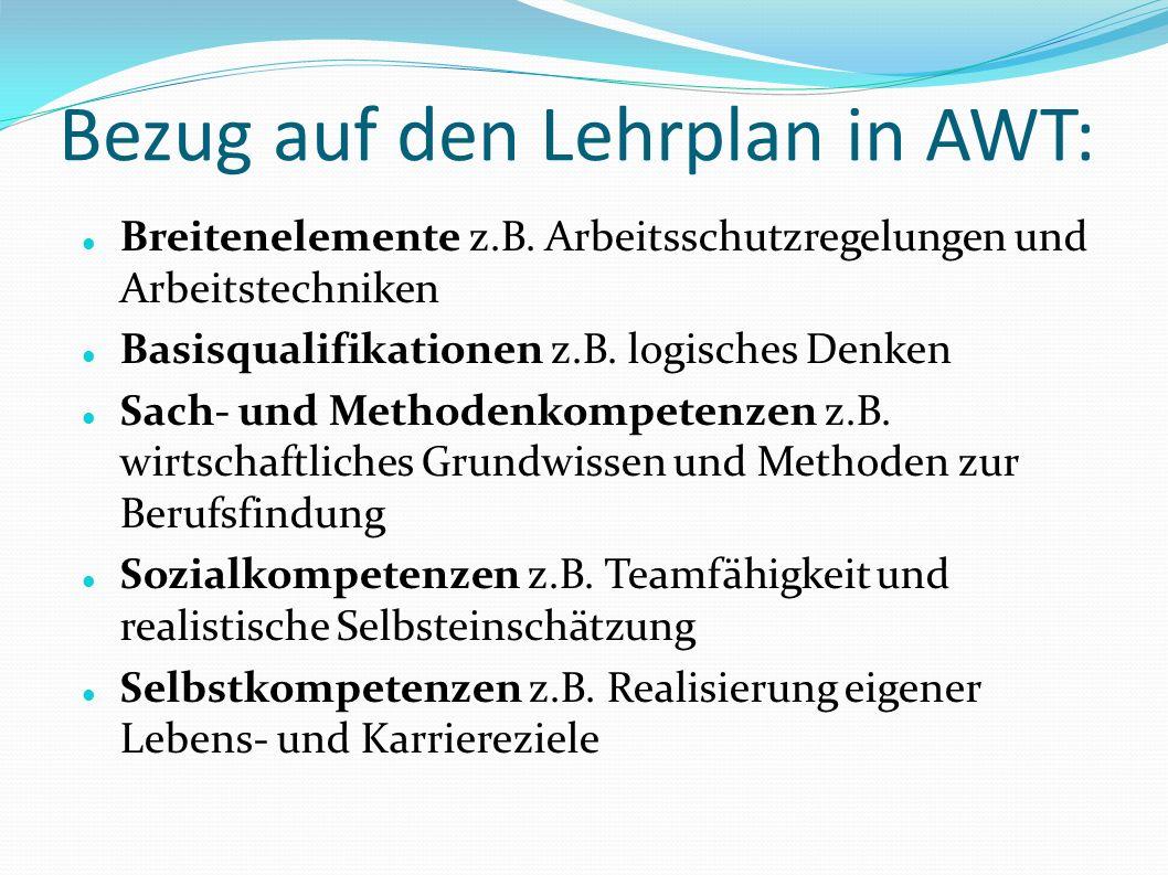 Bezug auf den Lehrplan in AWT: Breitenelemente z.B.