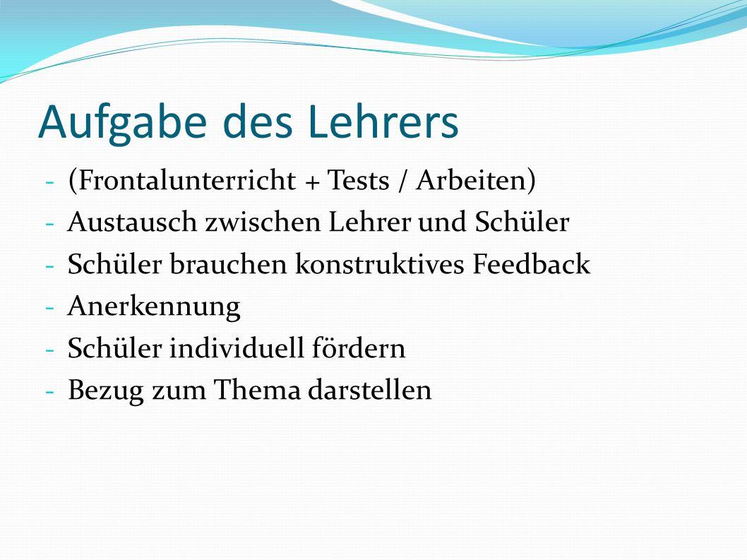 Aufgabe des Lehrers - (Frontalunterricht + Tests / Arbeiten) - Austausch zwischen Lehrer und Schüler - Schüler brauchen konstruktives Feedback - Anerkennung - Schüler individuell fördern - Bezug zum Thema darstellen