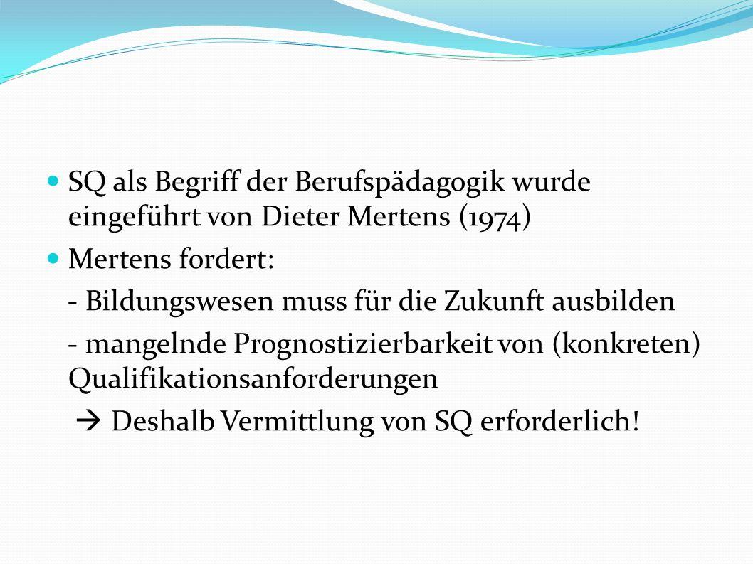 SQ als Begriff der Berufspädagogik wurde eingeführt von Dieter Mertens (1974) Mertens fordert: - Bildungswesen muss für die Zukunft ausbilden - mangelnde Prognostizierbarkeit von (konkreten) Qualifikationsanforderungen Deshalb Vermittlung von SQ erforderlich!