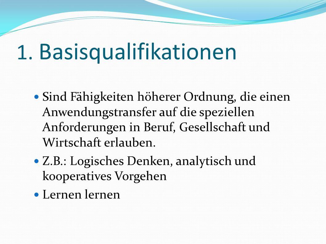 1. Basisqualifikationen Sind Fähigkeiten höherer Ordnung, die einen Anwendungstransfer auf die speziellen Anforderungen in Beruf, Gesellschaft und Wir