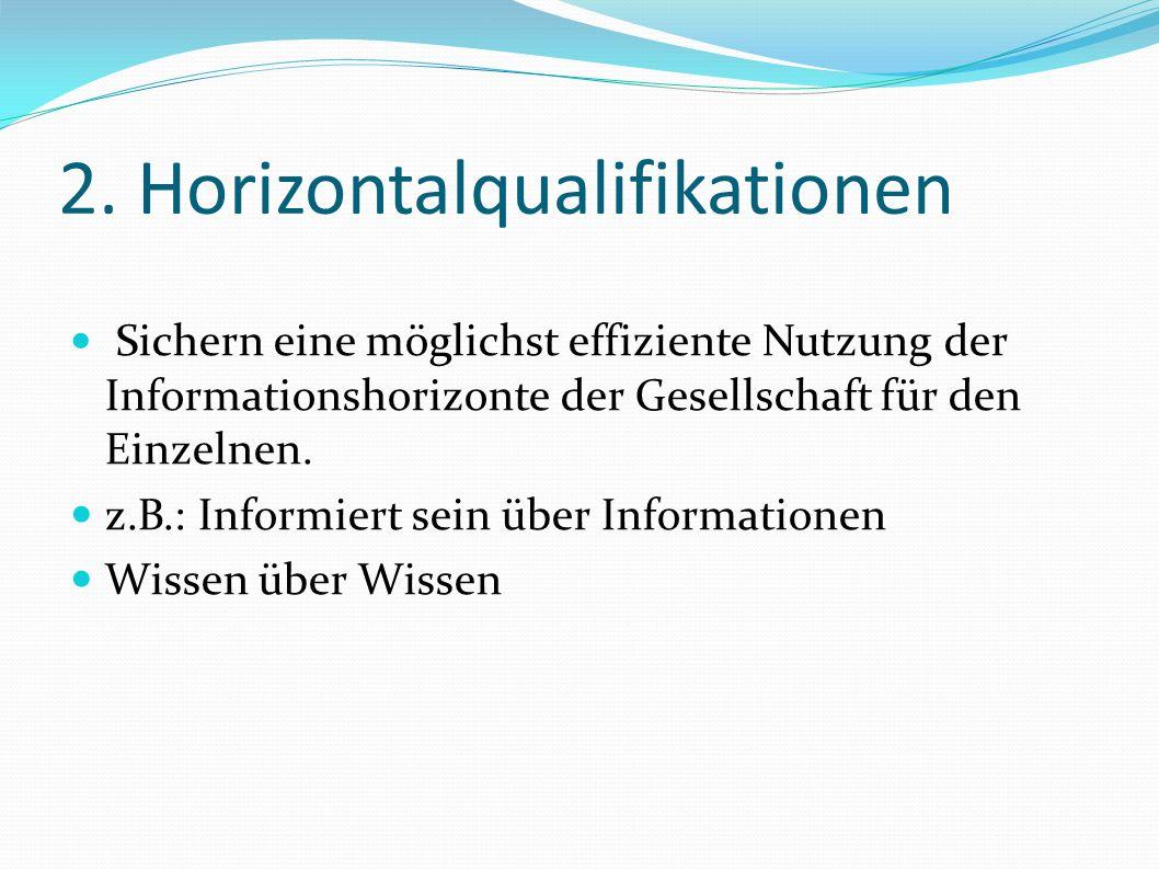 2. Horizontalqualifikationen Sichern eine möglichst effiziente Nutzung der Informationshorizonte der Gesellschaft für den Einzelnen. z.B.: Informiert