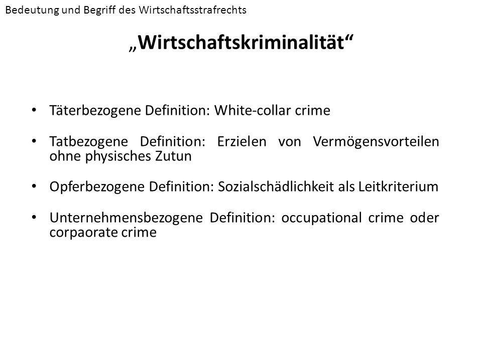 Wirtschaftskriminalität Täterbezogene Definition: White-collar crime Tatbezogene Definition: Erzielen von Vermögensvorteilen ohne physisches Zutun Opf