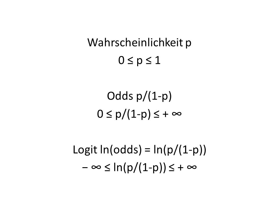Wahrscheinlichkeit p 0 p 1 Odds p/(1-p) 0 p/(1-p) + Logit ln(odds) = ln(p/(1-p)) ln(p/(1-p)) +