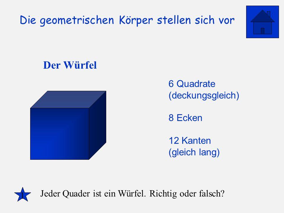 Die geometrischen Körper stellen sich vor Der Würfel 6 Quadrate (deckungsgleich) 8 Ecken 12 Kanten (gleich lang) 1 Jeder Quader ist ein Würfel. Richti