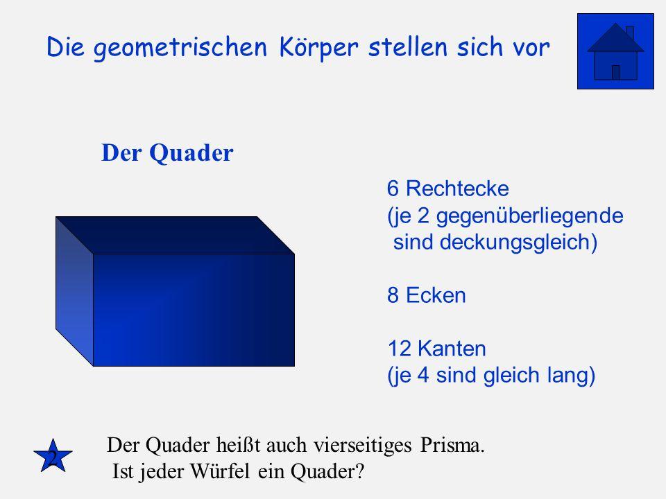 Die geometrischen Körper stellen sich vor Der Quader 6 Rechtecke (je 2 gegenüberliegende sind deckungsgleich) 8 Ecken 12 Kanten (je 4 sind gleich lang