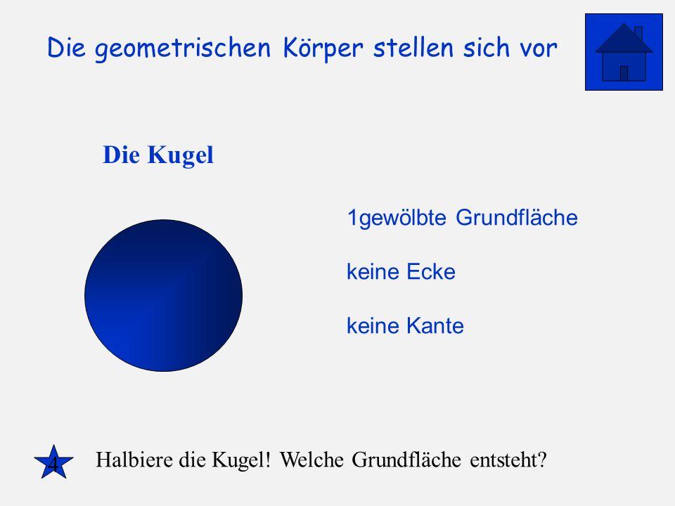 Die geometrischen Körper stellen sich vor Die Kugel 1gewölbte Grundfläche keine Ecke keine Kante 4 Halbiere die Kugel! Welche Grundfläche entsteht?