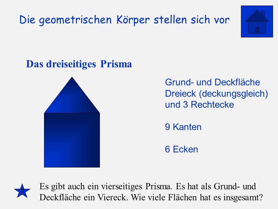Die geometrischen Körper stellen sich vor Das dreiseitiges Prisma Grund- und Deckfläche Dreieck (deckungsgleich) und 3 Rechtecke 9 Kanten 6 Ecken 7 Es