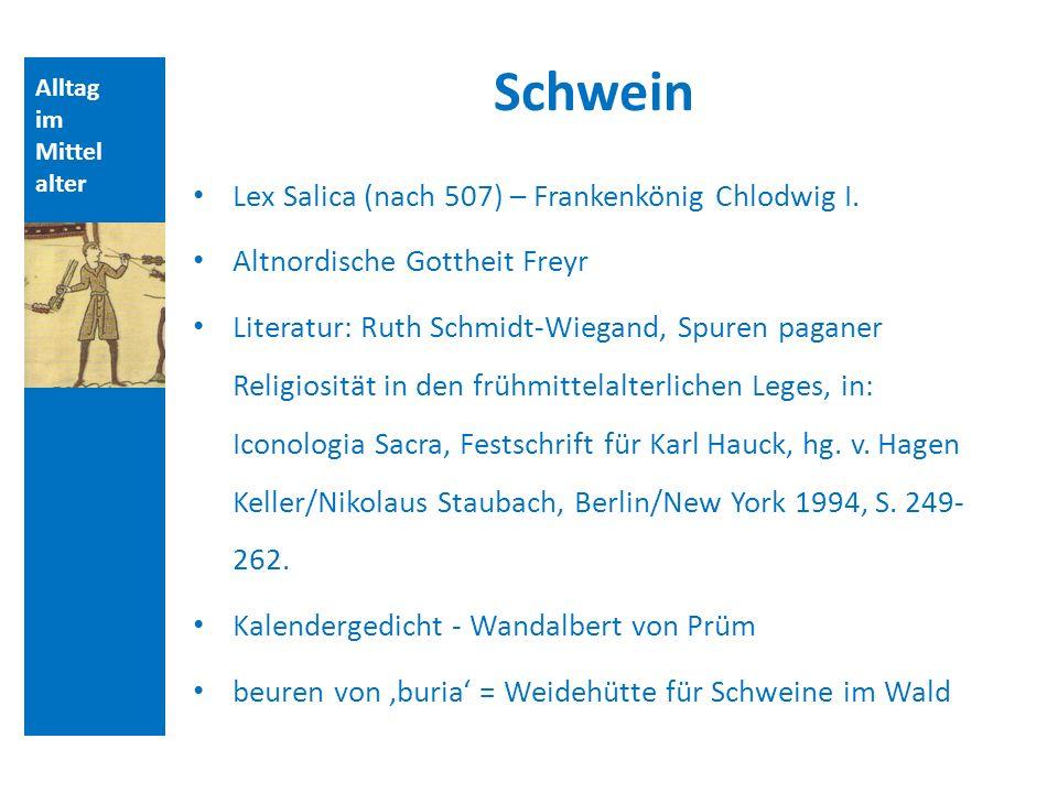 Alltag im Mittel alter Schwein Lex Salica (nach 507) – Frankenkönig Chlodwig I. Altnordische Gottheit Freyr Literatur: Ruth Schmidt-Wiegand, Spuren pa