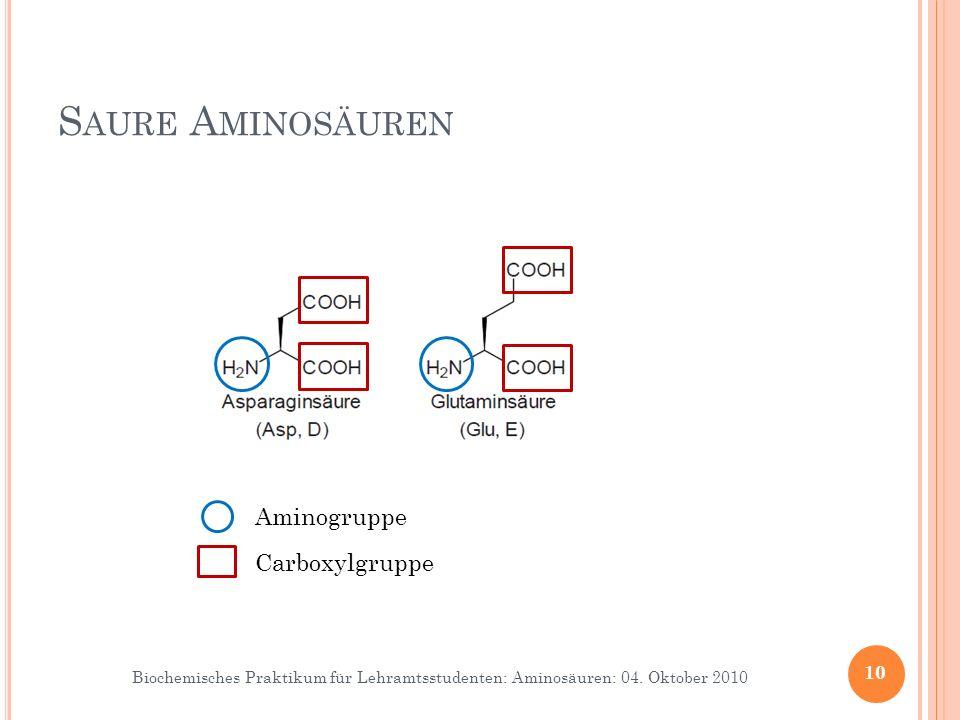 Biochemisches Praktikum für Lehramtsstudenten: Aminosäuren: 04. Oktober 2010 S AURE A MINOSÄUREN 10 Aminogruppe Carboxylgruppe