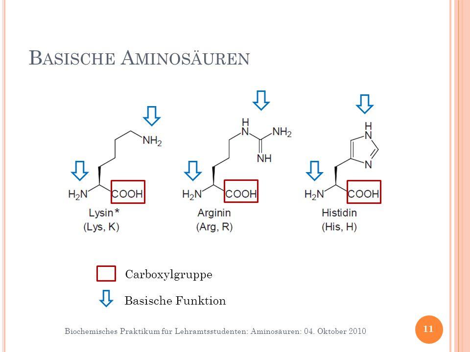Biochemisches Praktikum für Lehramtsstudenten: Aminosäuren: 04. Oktober 2010 B ASISCHE A MINOSÄUREN 11 Carboxylgruppe Basische Funktion