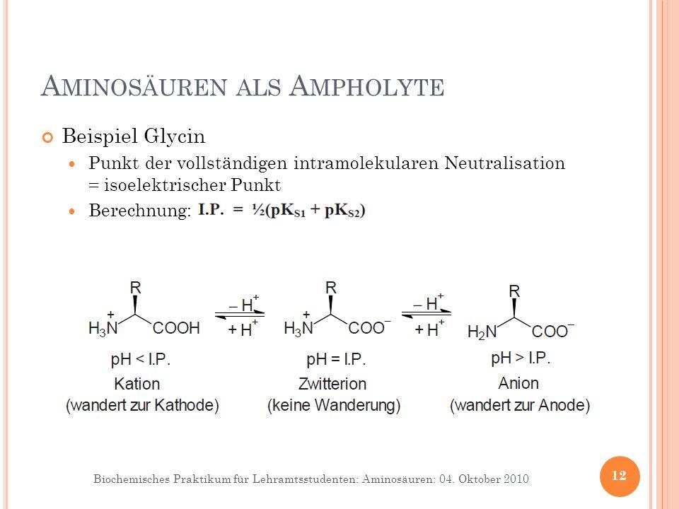 Biochemisches Praktikum für Lehramtsstudenten: Aminosäuren: 04. Oktober 2010 A MINOSÄUREN ALS A MPHOLYTE Beispiel Glycin Punkt der vollständigen intra