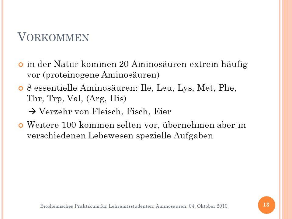 Biochemisches Praktikum für Lehramtsstudenten: Aminosäuren: 04. Oktober 2010 V ORKOMMEN in der Natur kommen 20 Aminosäuren extrem häufig vor (proteino