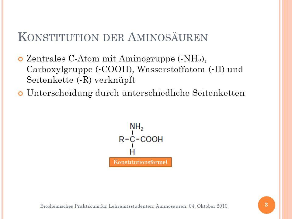 Biochemisches Praktikum für Lehramtsstudenten: Aminosäuren: 04. Oktober 2010 K ONSTITUTION DER A MINOSÄUREN Zentrales C-Atom mit Aminogruppe (-NH 2 ),