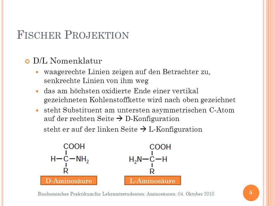 Biochemisches Praktikum für Lehramtsstudenten: Aminosäuren: 04. Oktober 2010 F ISCHER P ROJEKTION 5 D-AminosäureL-Aminosäure D/L Nomenklatur waagerech