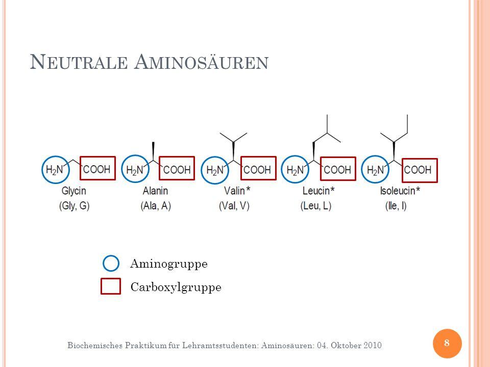 Biochemisches Praktikum für Lehramtsstudenten: Aminosäuren: 04. Oktober 2010 8 N EUTRALE A MINOSÄUREN Aminogruppe Carboxylgruppe