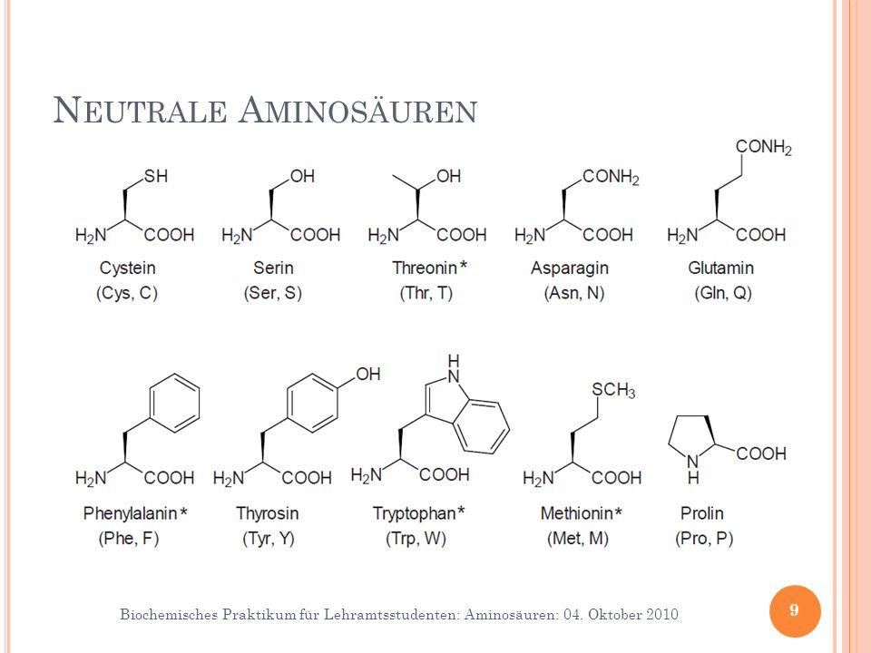 Biochemisches Praktikum für Lehramtsstudenten: Aminosäuren: 04. Oktober 2010 9 N EUTRALE A MINOSÄUREN