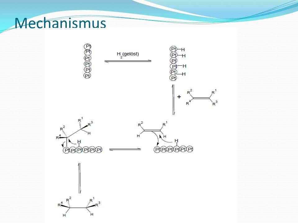 Katalytische Hydrierung: heterogen Hydrierungen mit Pt- und Pd-Katalysatoren von Alkinen nicht auf der Alkenstufe an haltbar Aktivitätssenkung des Katalysators mit Bleiacetat (Lindlar-Katalysator)