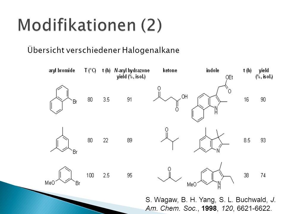 Übersicht verschiedener Halogenalkane S. Wagaw, B. H. Yang, S. L. Buchwald, J. Am. Chem. Soc., 1998, 120, 6621-6622.