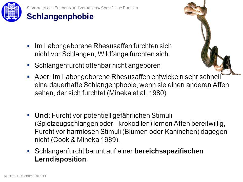Schlangenphobie Im Labor geborene Rhesusaffen fürchten sich nicht vor Schlangen, Wildfänge fürchten sich. Schlangenfurcht offenbar nicht angeboren Abe