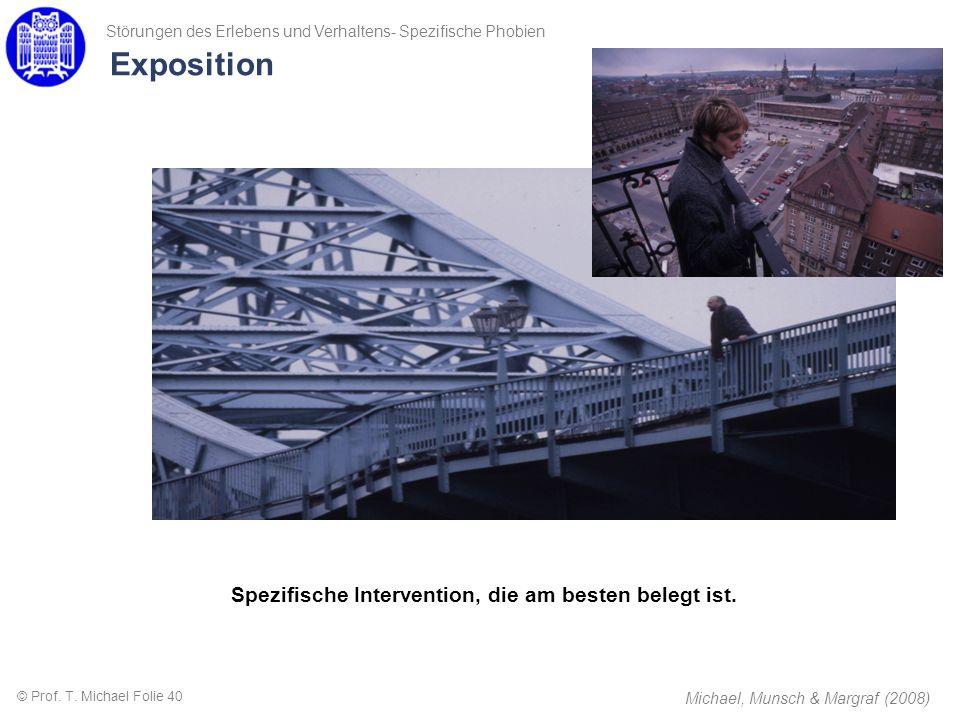 Exposition Spezifische Intervention, die am besten belegt ist. Michael, Munsch & Margraf (2008) Störungen des Erlebens und Verhaltens- Spezifische Pho