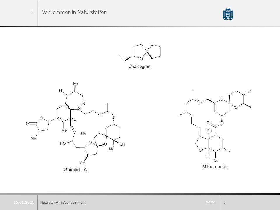 Seite >Vorkommen in Naturstoffen Naturstoffe mit Spirozentrum5 16.01.2013