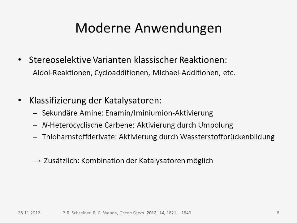 Moderne Anwendungen Stereoselektive Varianten klassischer Reaktionen: Aldol-Reaktionen, Cycloadditionen, Michael-Additionen, etc. Klassifizierung der