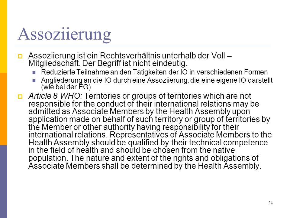 Assoziierung Assoziierung ist ein Rechtsverhältnis unterhalb der Voll – Mitgliedschaft. Der Begriff ist nicht eindeutig. Reduzierte Teilnahme an den T