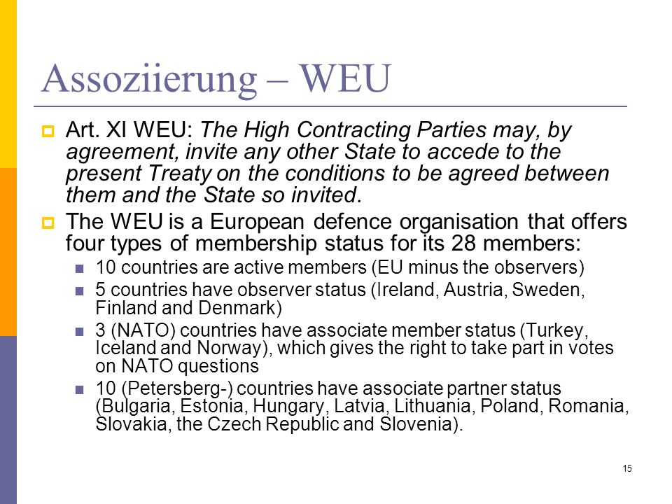 Assoziierung – WEU Art. XI WEU: The High Contracting Parties may, by agreement, invite any other State to accede to the present Treaty on the conditio