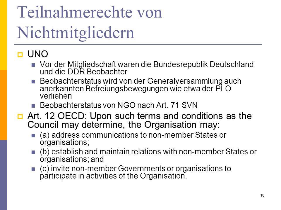 Teilnahmerechte von Nichtmitgliedern UNO Vor der Mitgliedschaft waren die Bundesrepublik Deutschland und die DDR Beobachter Beobachterstatus wird von
