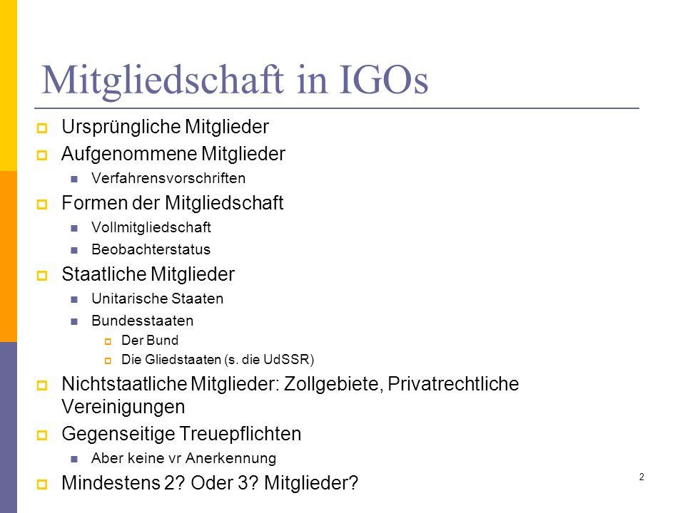 Mitgliedschaft in IGOs Ursprüngliche Mitglieder Aufgenommene Mitglieder Verfahrensvorschriften Formen der Mitgliedschaft Vollmitgliedschaft Beobachter