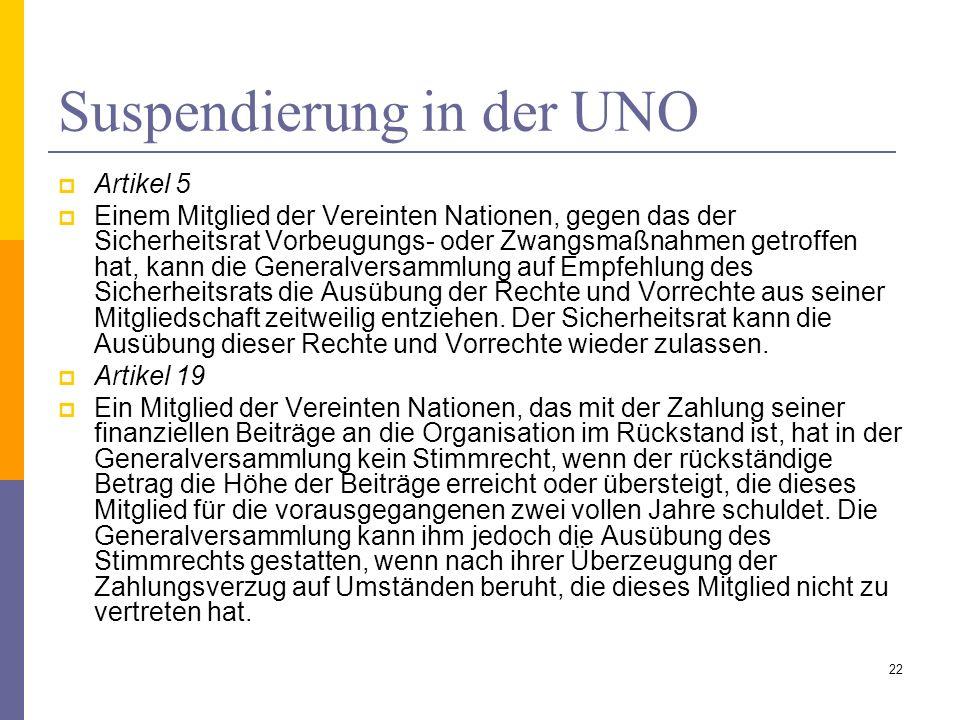 Suspendierung in der UNO Artikel 5 Einem Mitglied der Vereinten Nationen, gegen das der Sicherheitsrat Vorbeugungs- oder Zwangsmaßnahmen getroffen hat