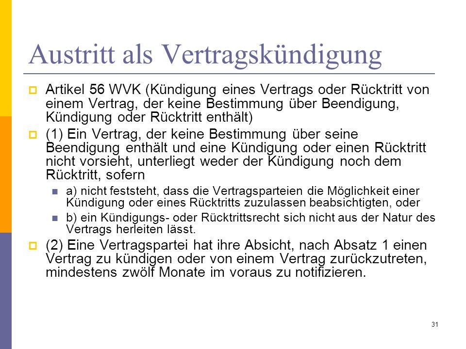 Austritt als Vertragskündigung Artikel 56 WVK (Kündigung eines Vertrags oder Rücktritt von einem Vertrag, der keine Bestimmung über Beendigung, Kündig