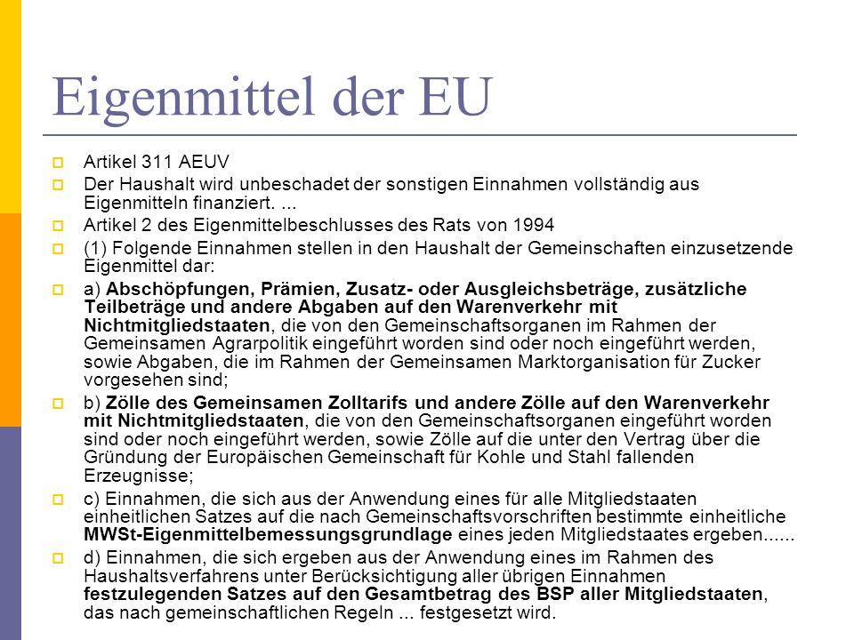 Eigenmittel der EU Artikel 311 AEUV Der Haushalt wird unbeschadet der sonstigen Einnahmen vollständig aus Eigenmitteln finanziert.... Artikel 2 des Ei