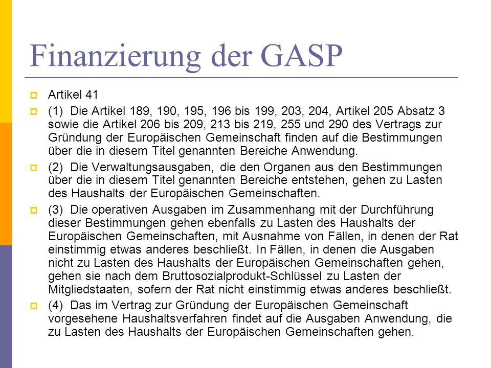 Finanzierung der GASP Artikel 41 (1) Die Artikel 189, 190, 195, 196 bis 199, 203, 204, Artikel 205 Absatz 3 sowie die Artikel 206 bis 209, 213 bis 219