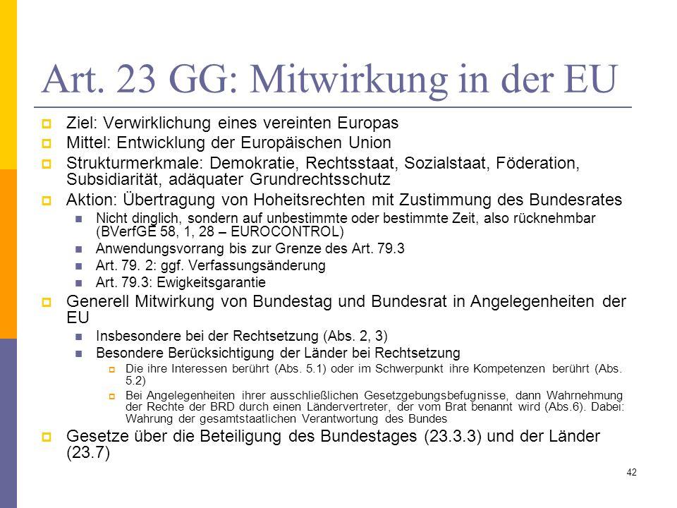 Art. 23 GG: Mitwirkung in der EU Ziel: Verwirklichung eines vereinten Europas Mittel: Entwicklung der Europäischen Union Strukturmerkmale: Demokratie,