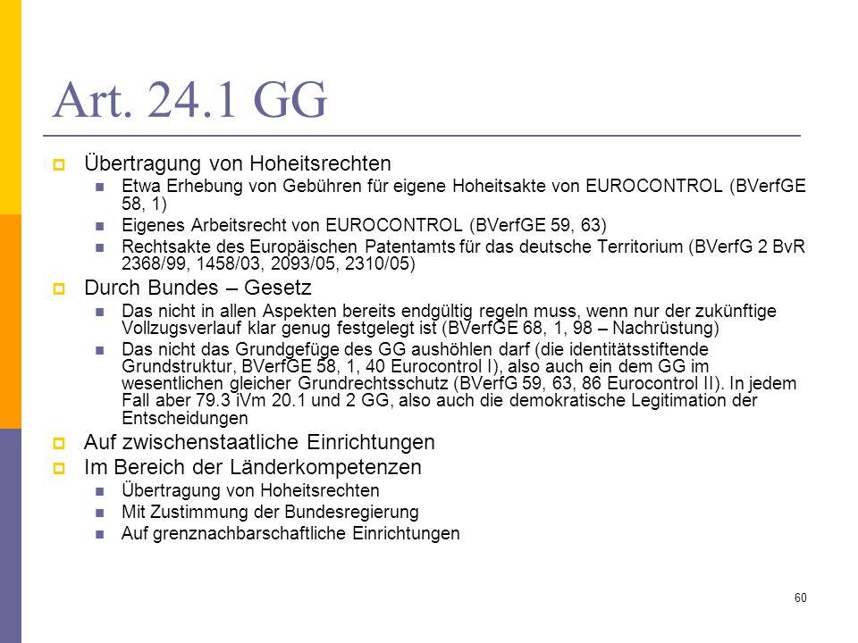 Art. 24.1 GG Übertragung von Hoheitsrechten Etwa Erhebung von Gebühren für eigene Hoheitsakte von EUROCONTROL (BVerfGE 58, 1) Eigenes Arbeitsrecht von