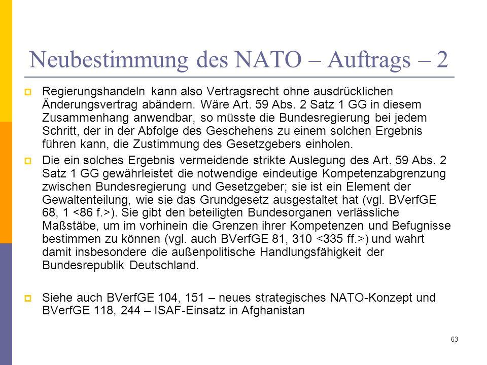 Neubestimmung des NATO – Auftrags – 2 Regierungshandeln kann also Vertragsrecht ohne ausdrücklichen Änderungsvertrag abändern. Wäre Art. 59 Abs. 2 Sat