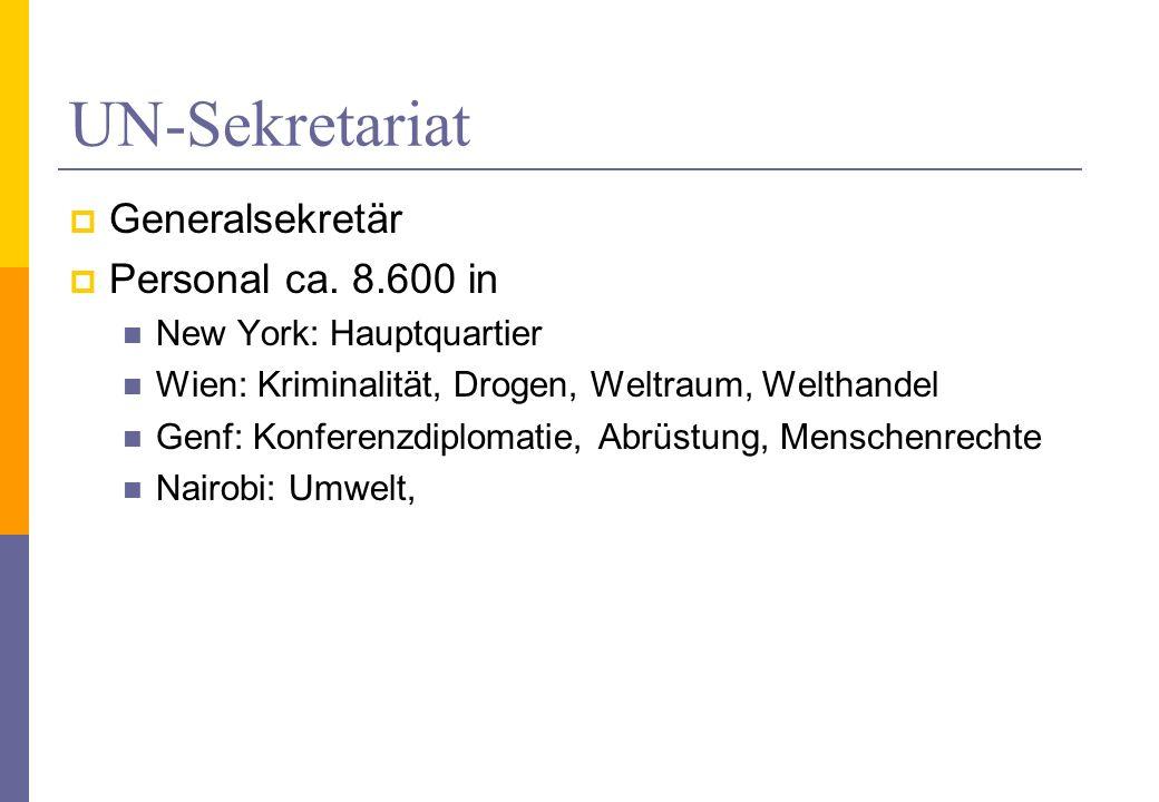 UN-Sekretariat Generalsekretär Personal ca. 8.600 in New York: Hauptquartier Wien: Kriminalität, Drogen, Weltraum, Welthandel Genf: Konferenzdiplomati