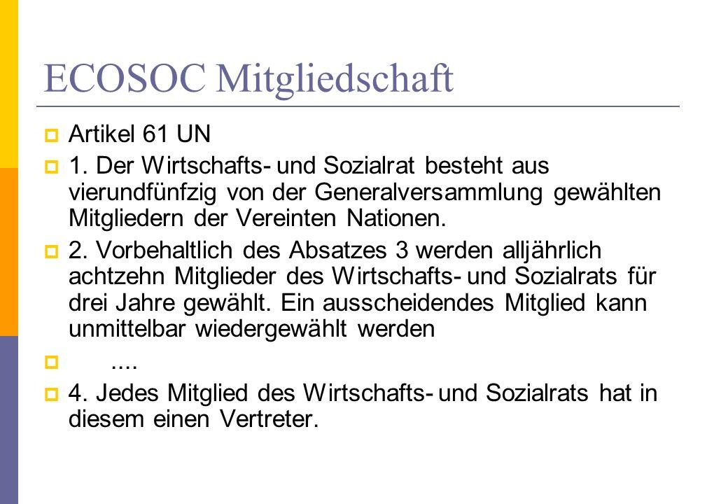 ECOSOC Mitgliedschaft Artikel 61 UN 1. Der Wirtschafts- und Sozialrat besteht aus vierundfünfzig von der Generalversammlung gewählten Mitgliedern der
