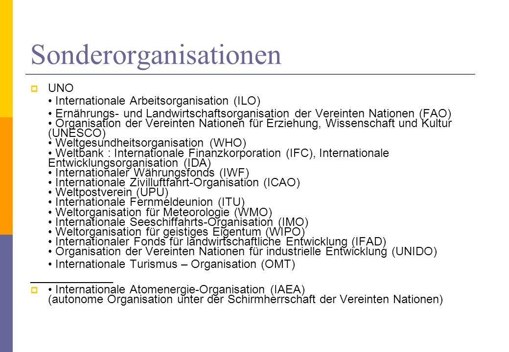 Sonderorganisationen UNO Internationale Arbeitsorganisation (ILO) Ernährungs- und Landwirtschaftsorganisation der Vereinten Nationen (FAO) Organisatio