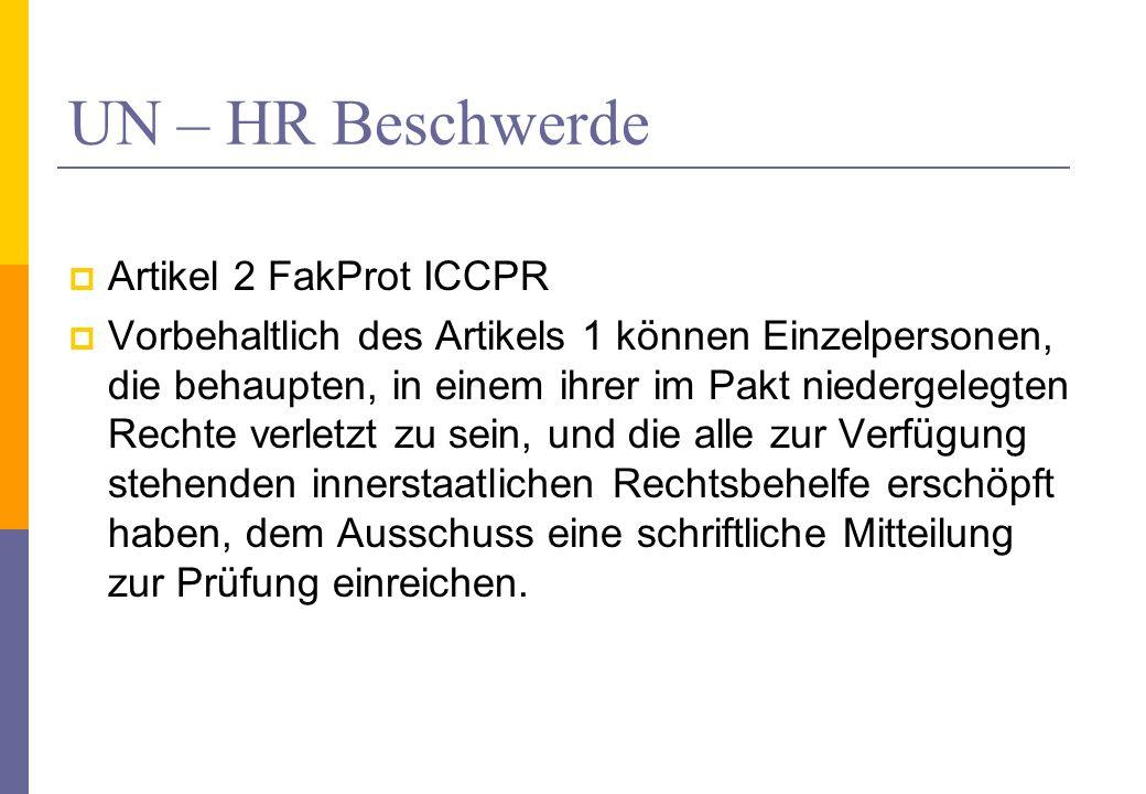 UN – HR Beschwerde Artikel 2 FakProt ICCPR Vorbehaltlich des Artikels 1 können Einzelpersonen, die behaupten, in einem ihrer im Pakt niedergelegten Re