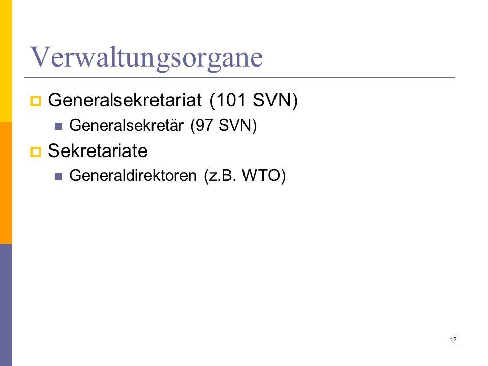 Verwaltungsorgane Generalsekretariat (101 SVN) Generalsekretär (97 SVN) Sekretariate Generaldirektoren (z.B. WTO) 12